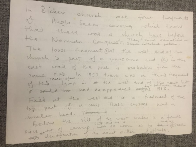 HH STSW c1970 Notes on fragments of Anglo Saxon Stone