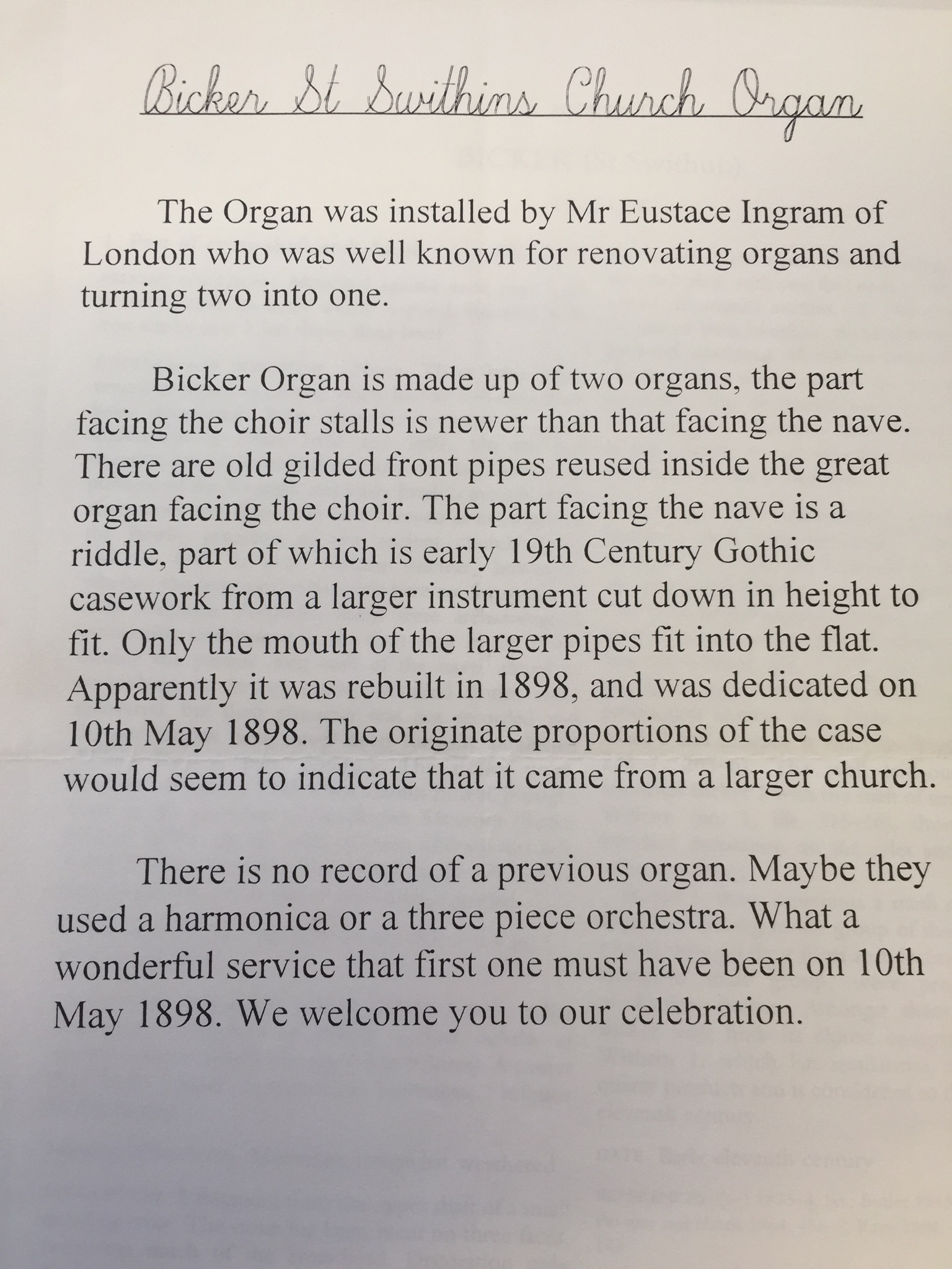 HH STSW 1898 Notes on the church organ