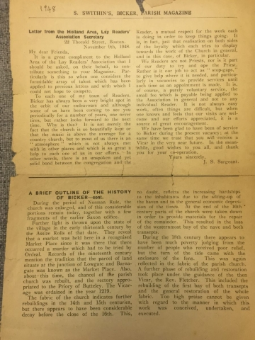 1948 History of Bicker in Parish mag