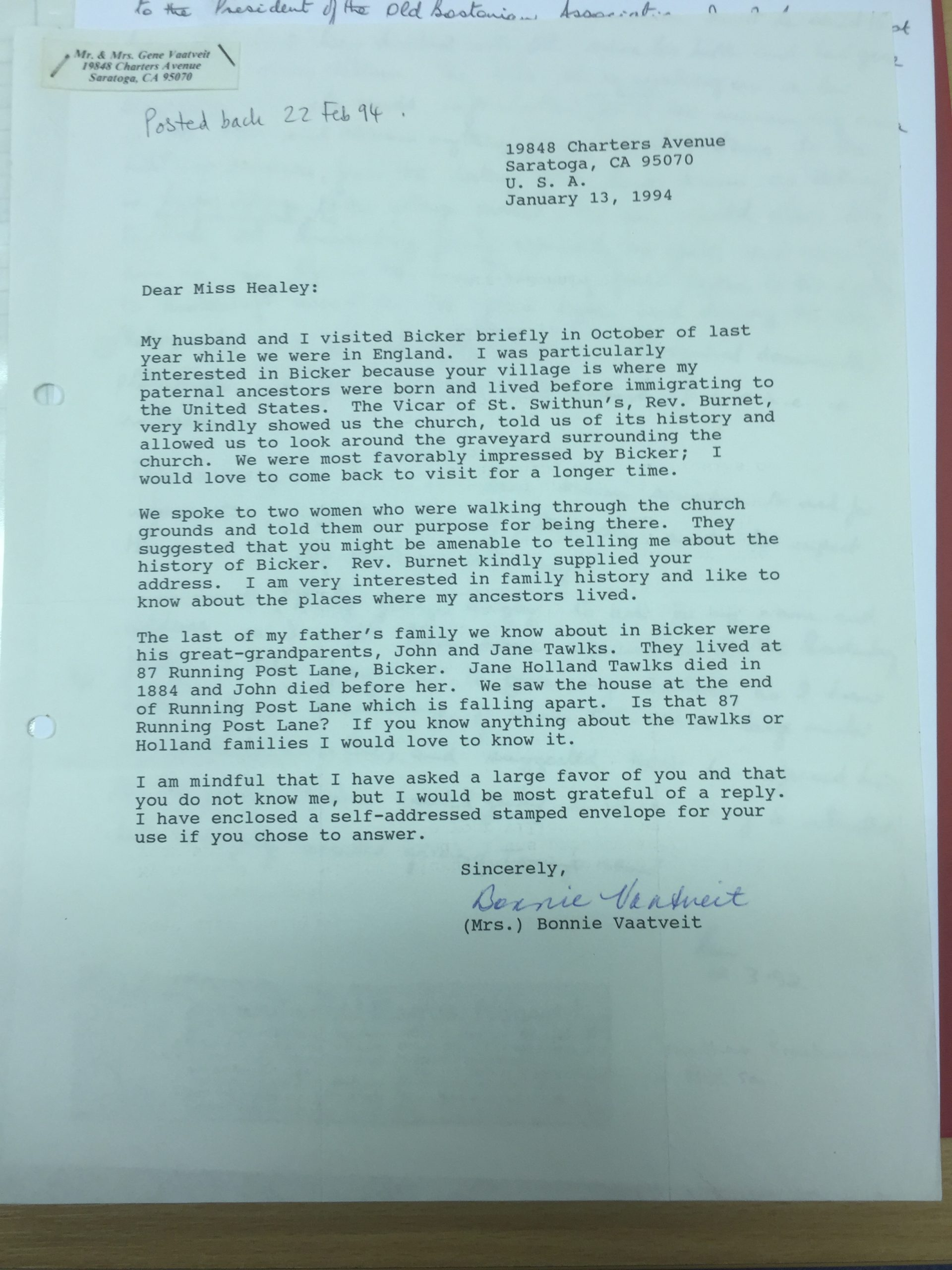 1994 Letter to HH by possible Boston Pilgrim descendant
