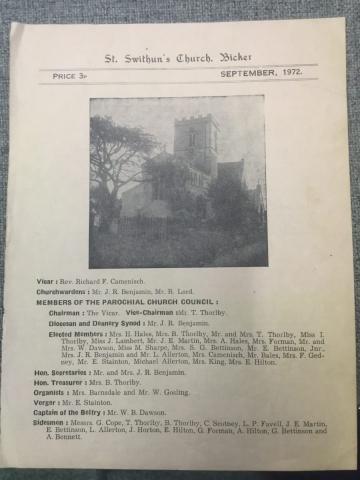 HH STSW 1972 PCC details Rev Camenisch & Mr Benjamin