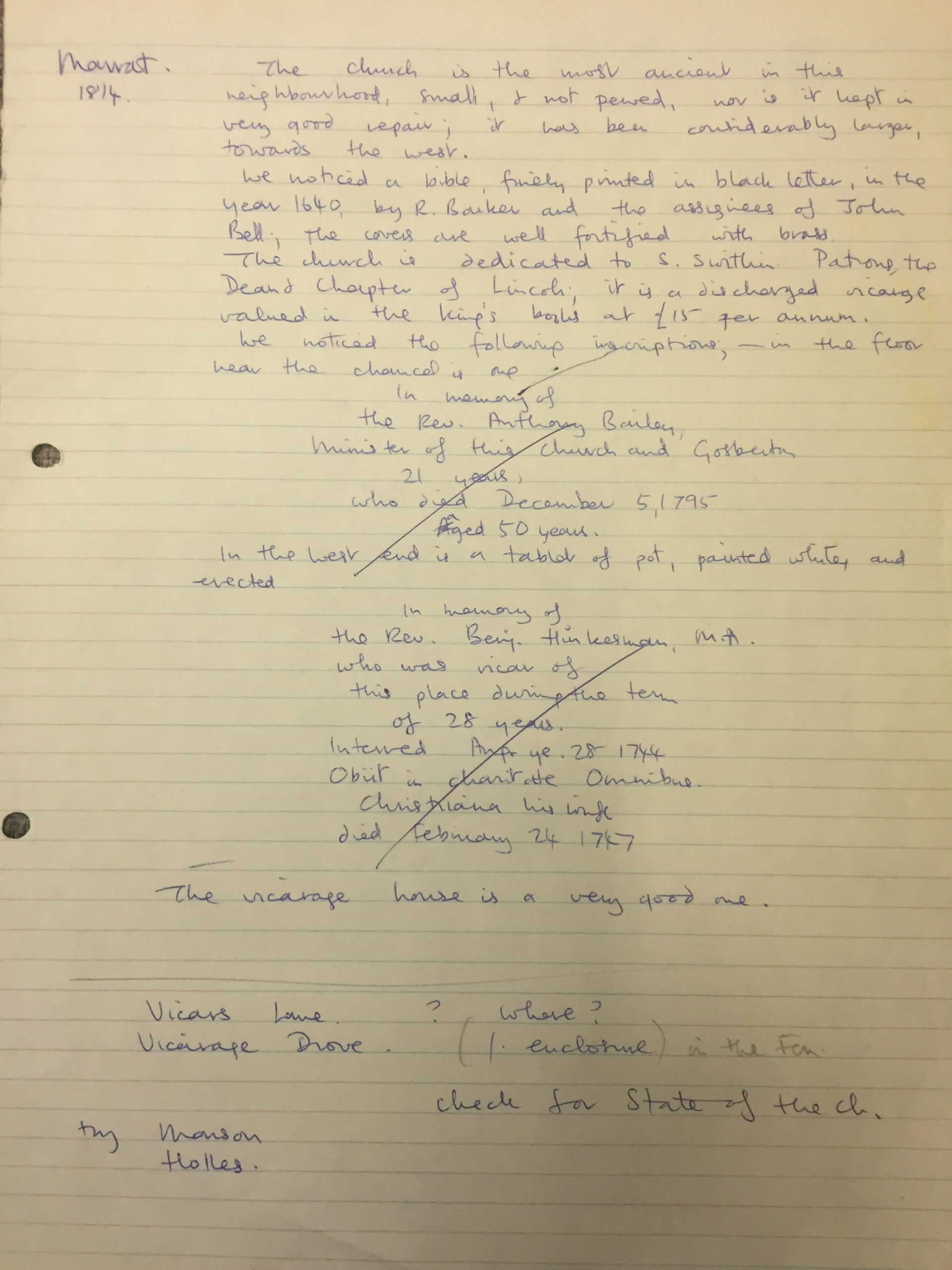 HH STSW 1814 Notes on church