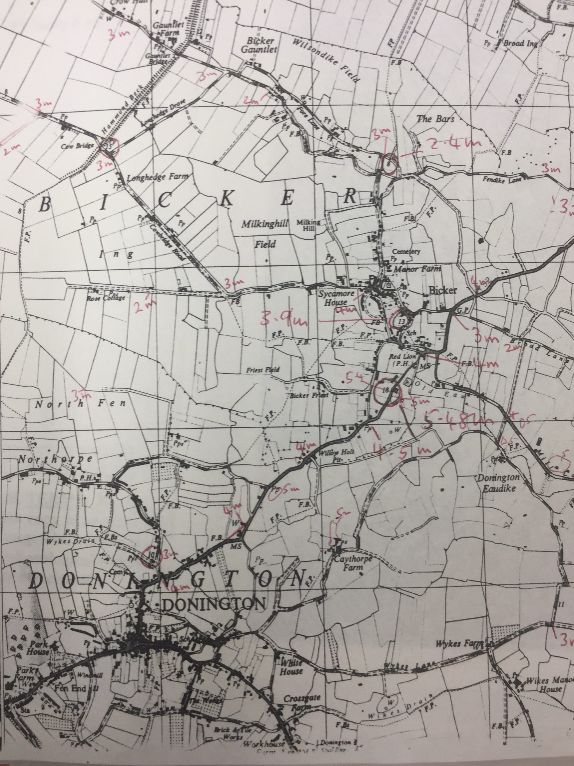 HH BKH c1960 Map heights above sea level