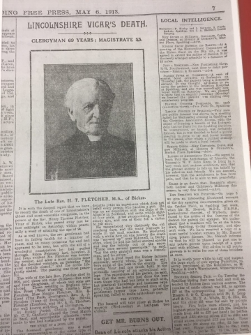 HH STSW 1850 Rev Henry Thomas Fletcher death 1