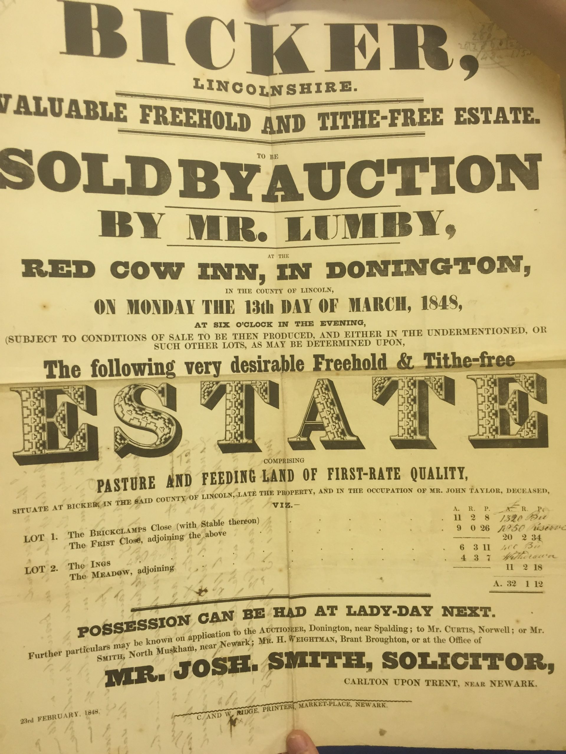 1848 Auction of Red Cow Inn