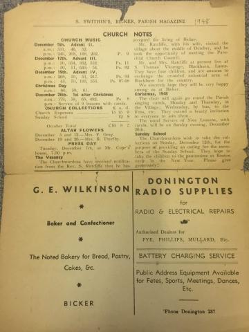 HH STSW 1948 Church notes in Parish mag