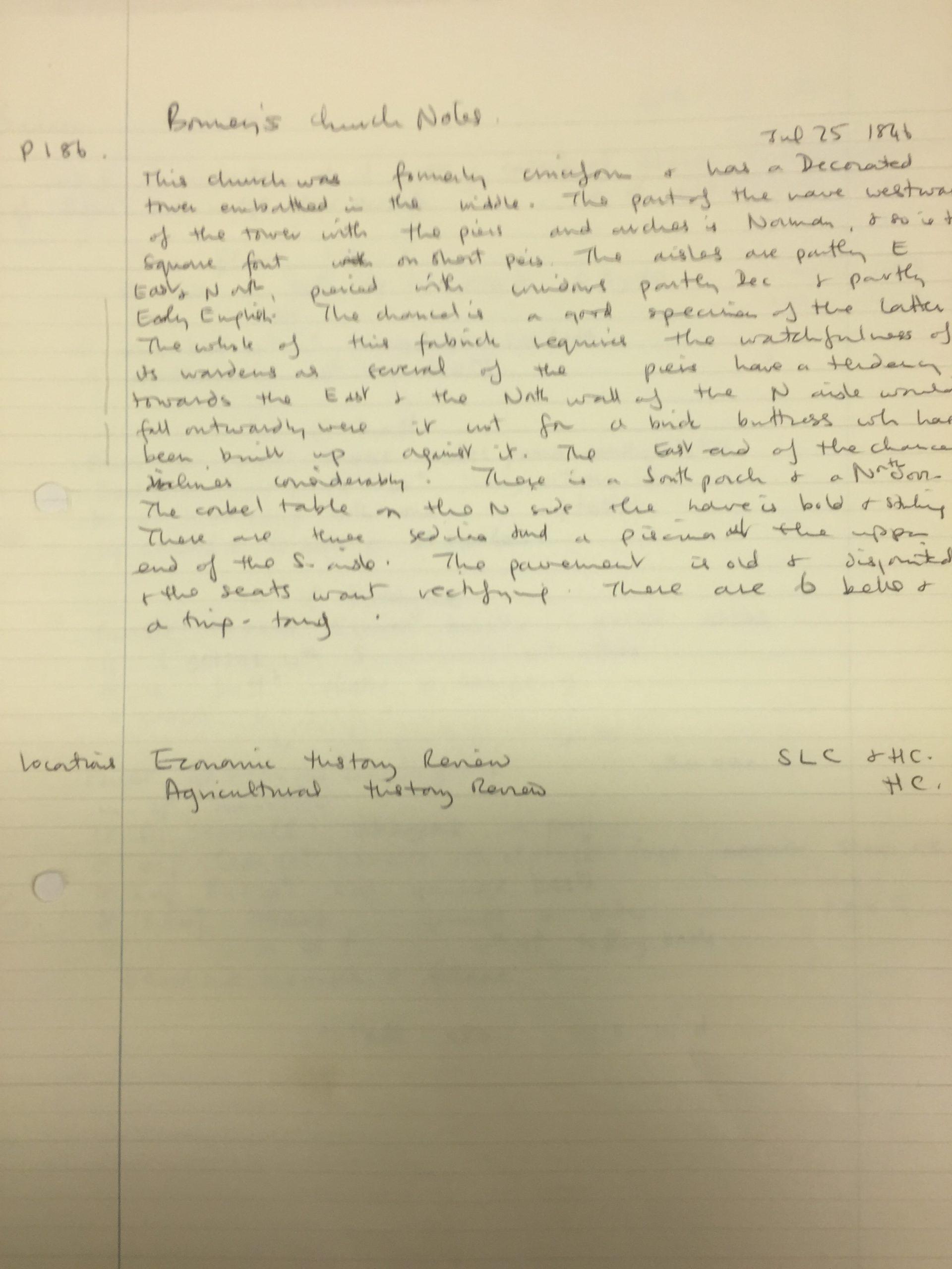 HH STSW 1846 Bonney's church notes
