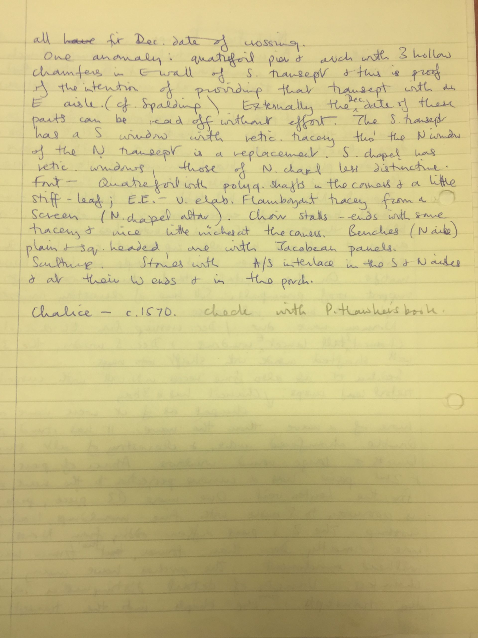 HH STSW 1570 Notes on church features