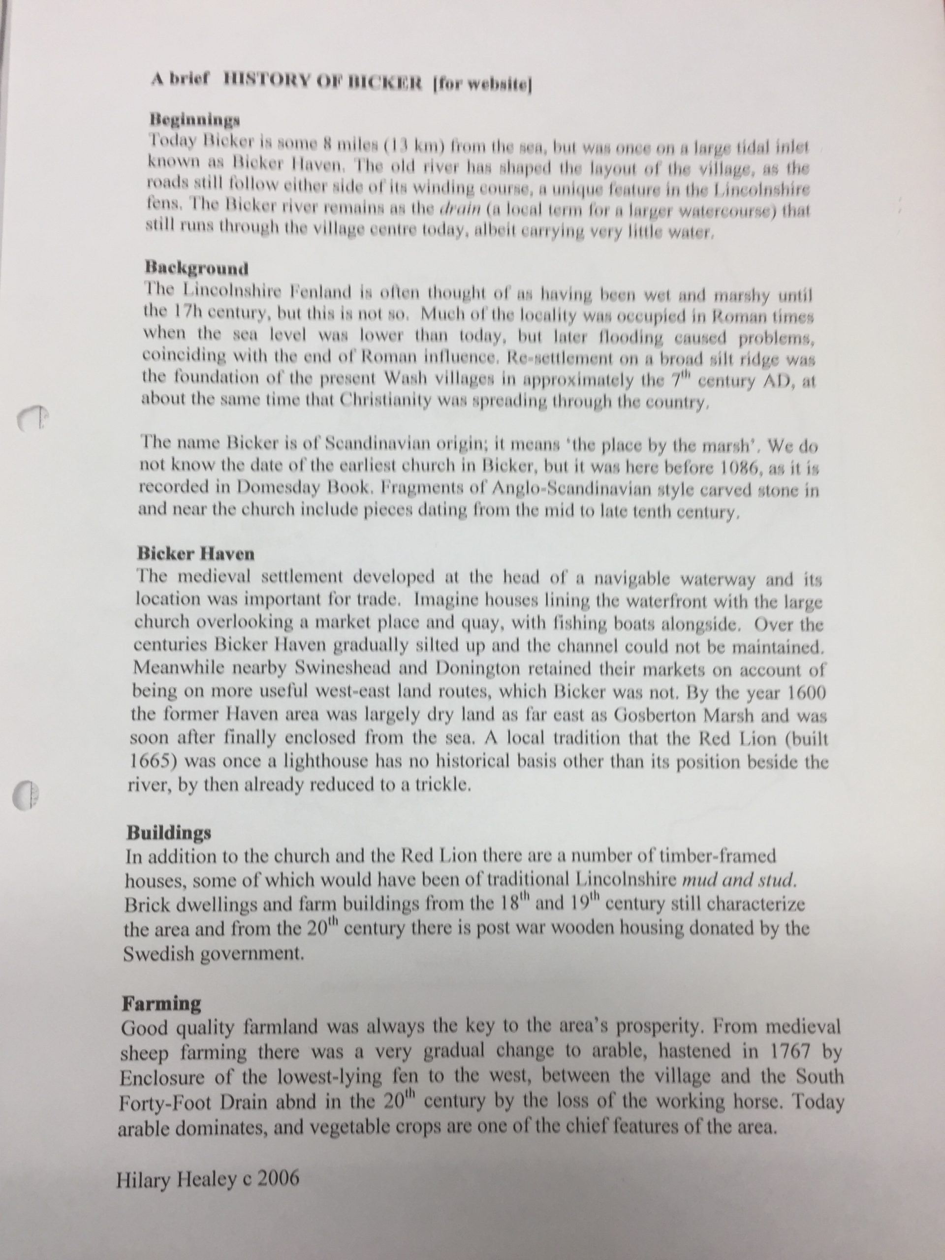 HH Bicker - a brief history