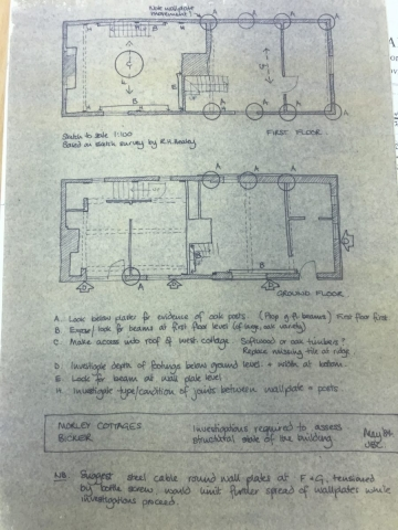 1984 Morley cottages handwritten plan