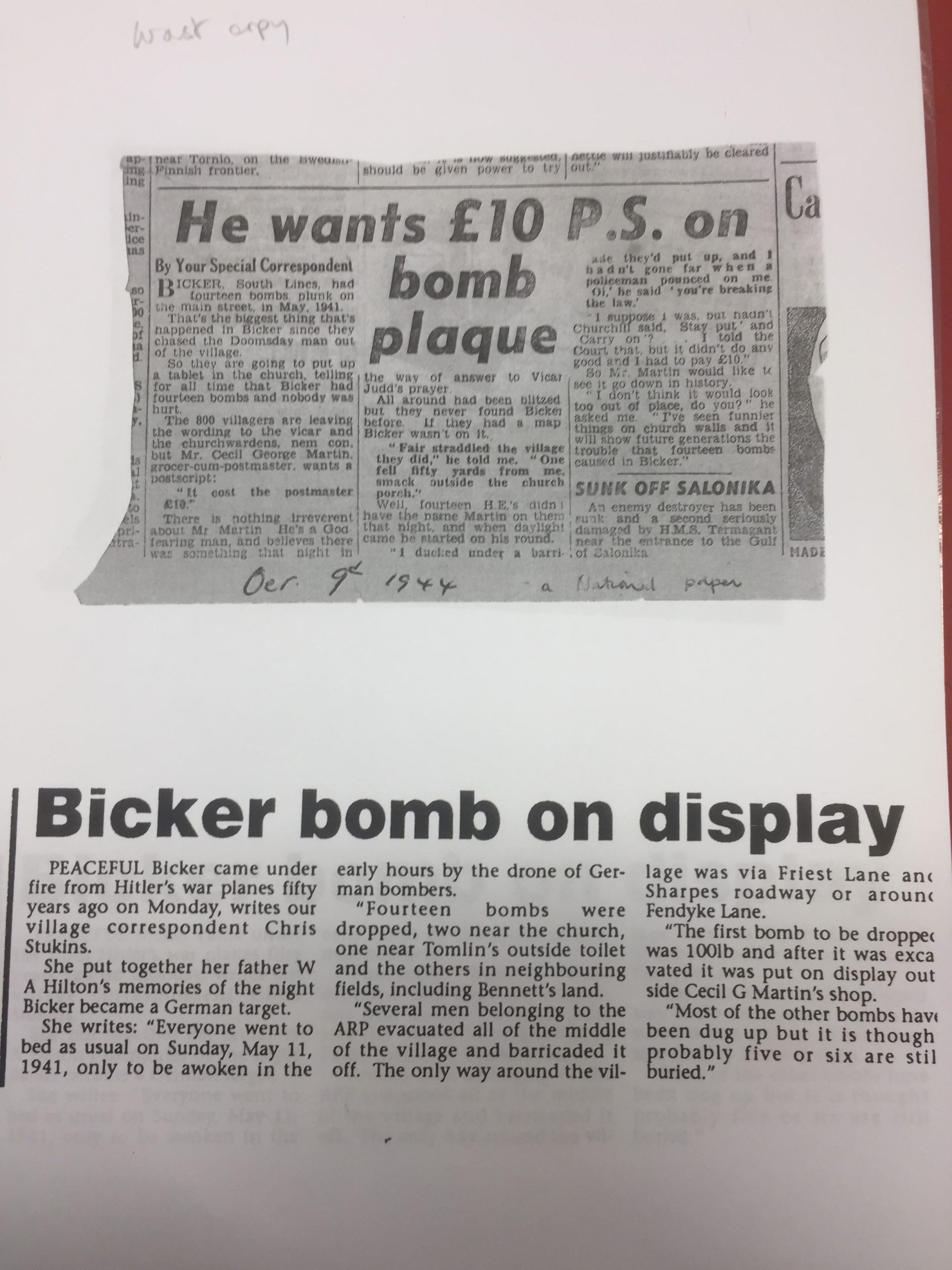 HH 1941-1944 Bombs on Bicker