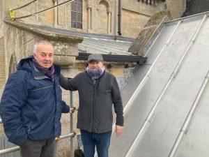 Martin Salisbury and Patrick Benjamin inspect the fabulous work.