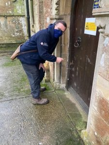 Phil Semmens, CEL, locks up the Church on the completion of their hard work.